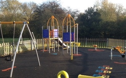 Picture shows play equipment on the recreation ground